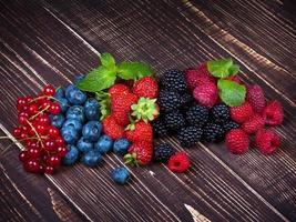 jordgubbar, blåbär, björnbär, hallon och vinbär foto