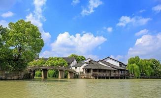 wuzhen vattenby på dagen i Kina foto