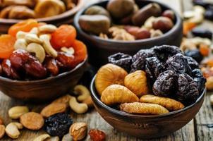blandning av torkad frukt och nötter