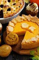 pumpa bakning för semester tacksägelse och halloween. foto