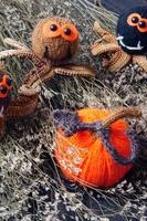 halloween bakgrund, handgjord, pumpa, spindel, oktober foto