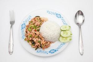 thailändsk maträtt, pat kapow foto