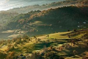 morgon i höst, landskap foto