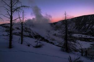 Yellowstone vinterlandskap vid solnedgången