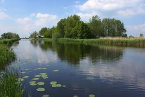 holländskt landskap med väderkvarn foto