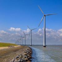 rad med vindkraftverk längs en vågbrytare foto