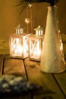 miniatyrlyktor vinterdekoration foto