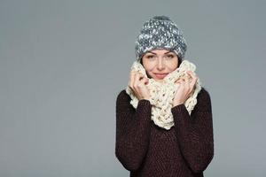 jul flicka, vinter koncept. foto