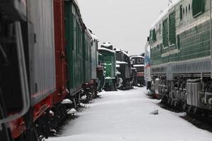järnvägsstation på vintern