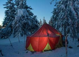 vinterskog och upplyst tält foto
