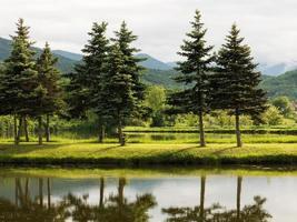 vacker sjö, landskape