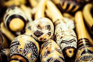 handgjorda peruanska maracor på den lokala marknaden foto