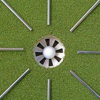 golfstålaxlar som pekar på golfhålet foto