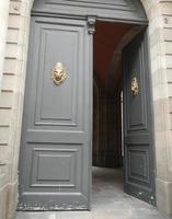 grå dörr foto