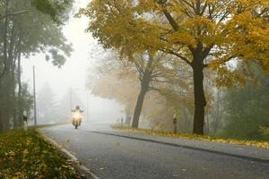 cykla på en dimmig morgon