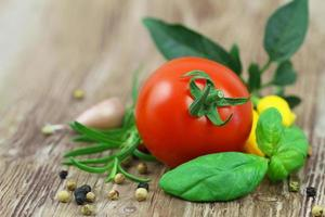 färsk basilika, tomat, rosmarin, blandad paprika med kopiautrymme foto