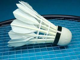 shuttlecock på en badmintonracket foto