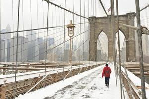 röd figur brooklyn bridge foto
