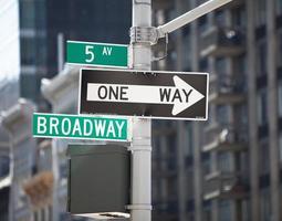 Broadway och 5th ave skylt, New York City foto