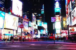 gånger kvadratisk stad i New York på natten foto