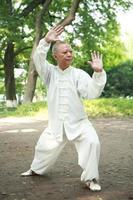 asiatisk gammal man taichi utomhus foto