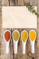 recept krydda bakgrund. olika kryddig mix foto