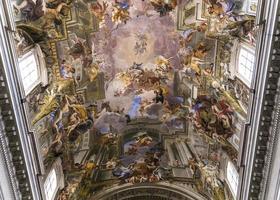 fresker av andrea pozzo i sant ignazio kyrka, Rom, Italien foto