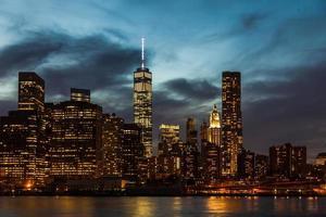 New York Cityscape nattskott foto
