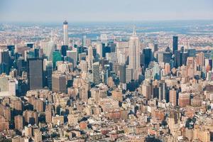 Flygfoto från New York från helikopter, stadsbild och skyskrapor foto