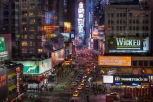 New York City Manhattan Times Square på natten hdr Tiltshift foto