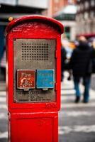 new york city polis och brand call box foto