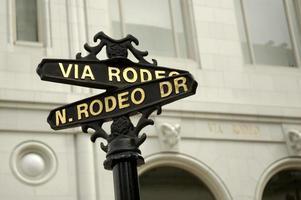 vintage svart gatan typskylt som pekar ut rodeo drive foto