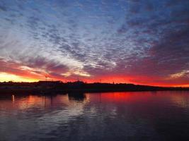 solnedgång över ön Robben
