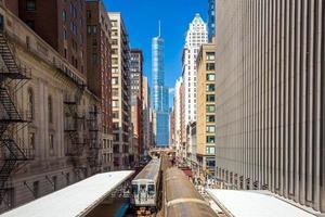 tåg i centrala chicago il foto