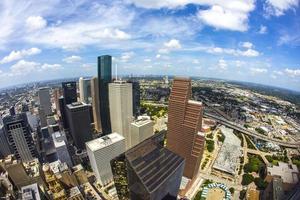 antenn av moderna byggnader i centrala Houston foto