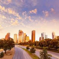 houston skyline sunset från allen pkwy texas us foto
