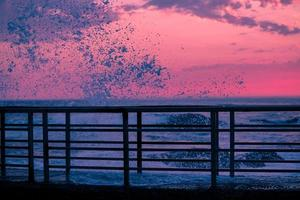 solnedgång brygga foto