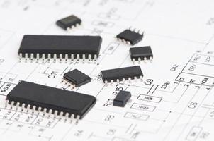 mikroelektronikelement och layout foto