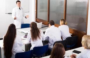 multinationella praktikanter och professor som diskuterar