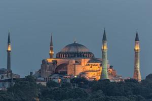 istanbul - hagia sophia upplyst om natten