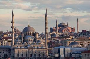 ny moské och hagia sophia foto