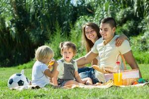 familj på picknick på landsbygden foto