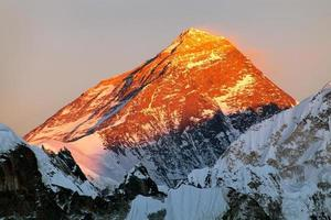 kvällsvy av Mount Everest från Gokyo Valley