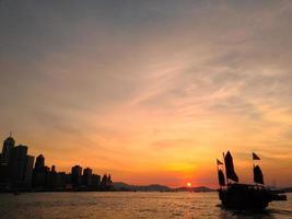 solnedgång, hamn foto
