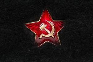 rysk röd stjärna med hammare och sigd på päls foto