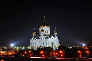 natt utsikt över Kristus frälsarkatedralen foto