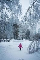 narnia, liten flicka som går ensam i den frysta vinterskogen foto