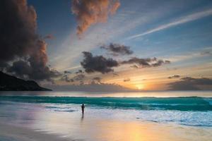 solnedgång på seychellerna