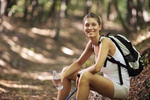kvinnlig nordisk vandrare foto
