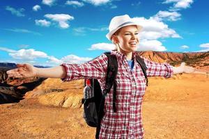 kvinnlig resenär foto